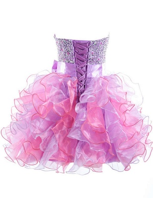 Cute Purple Sweetheart Short Homecoming Dress Latest Bowknot Crystal Ball Gown Cocktail Dresses_2