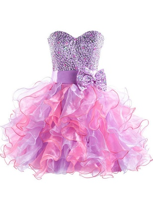 Cute Purple Sweetheart Short Homecoming Dress Latest Bowknot Crystal Ball Gown Cocktail Dresses_1