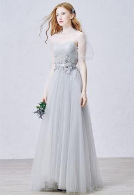 Elegant Sweetheart Grey Tulle Prom Dress New Arrival Floor Length Zipper Formal Occasion Dresses_3