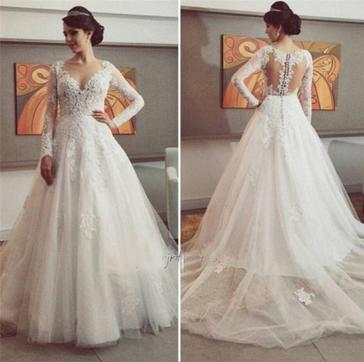New Arrival Tulle Long Sleeve Wedding Dress Elegant Court Train Lace Applique Bridal Gown_3