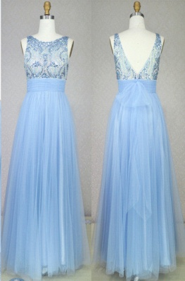 Light Blue Soft Mesh Cute Long Prom Dresses with Crystals Beadings Bowknot Sash Open Back  Evening Gowns_1