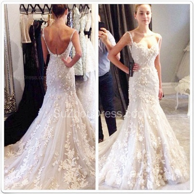 Straps Sweetheart Sexy Formal Evening Dresses Lace Flowers Popular Wedding Dresses with Long Train_2