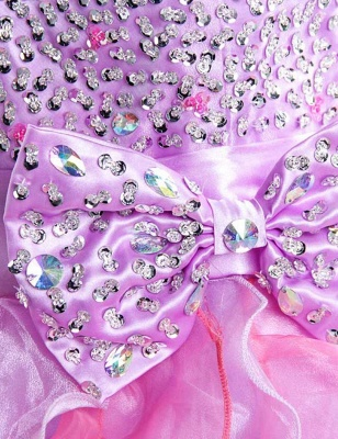Cute Purple Sweetheart Short Homecoming Dress Latest Bowknot Crystal Ball Gown Cocktail Dresses_4