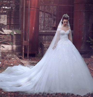 Off The Shoulder Princess Wedding Dress Ball Gown Lace Bride Dresses with Long Train_4