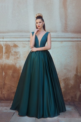Dark Green A-Line Deep V-Neck Prom Dresses  Ruffles Sleeveless Evening Gowns SK0037_2