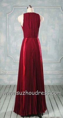 A-line Ruffle Burgundy Long Simple Prom Dress Formal Chiffon Designer Inexpensive Dresses for Juniors_2