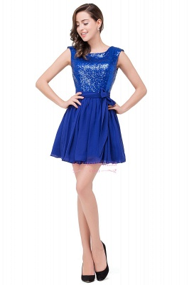 Short Sleeveless Sequins Elegant Chiffon Homecoming Dress_4