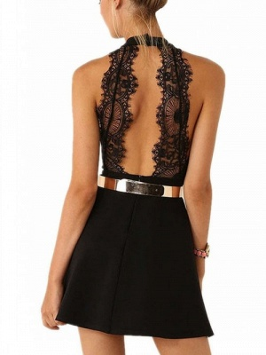 Sexy Mini Party Dress   Halter Open Back Cocktail Dress with Gold Belt_4