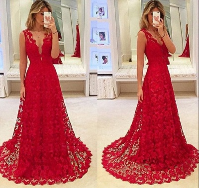 A-Line Red V-Neck Lace  Prom Dresses Latest Sweep Train Evening Gowns BA3843_3