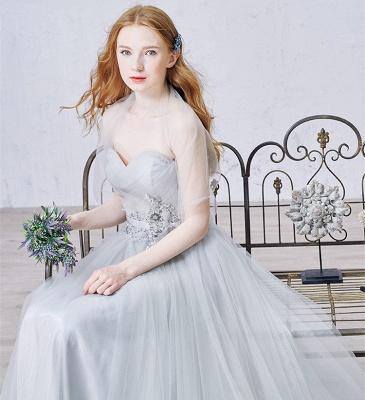 Elegant Sweetheart Grey Tulle Prom Dress New Arrival Floor Length Zipper Formal Occasion Dresses_5