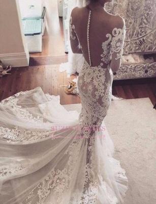 Glamorous Tulle Sexy Appliques Mermaid Long-Sleeves Wedding Dress_4