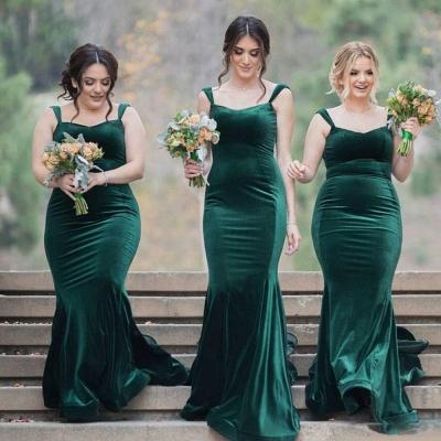 Straps Velvet Green Long Wedding Party Dresses  Elegant Bridesmaid Dress_3