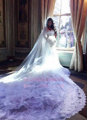 V-Neck Lace Appliques Ruffles Mermaid Bridal Gowns Gorgeous Organza Wedding Dresses_3