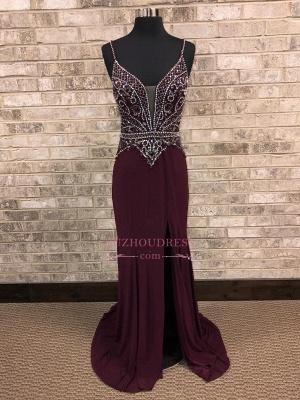 Brilliant Front-Slit Spaghetti-Straps Beading A-Line Prom dresses_3