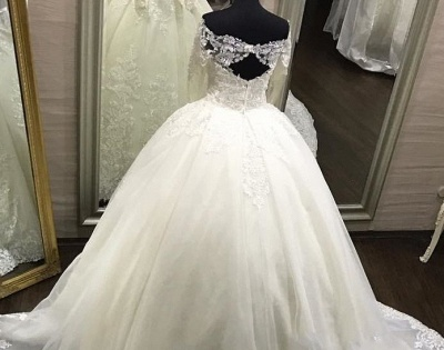 Elegant Off-the-Shoulder Long Sleeves Wedding Dresses | Tulle Appliques Bridal Gowns  with Beadings_5