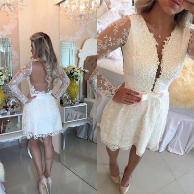 White A-line Lace Mini Cocktail Dress Long Sleeve Beadings Open Back Short Homecoming Dress_4