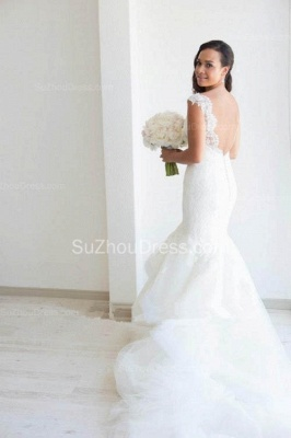 Elegant Lace V Neck Wedding Dresses with Fishtail Open Back Tulle Court Train Bridal Gowns_2