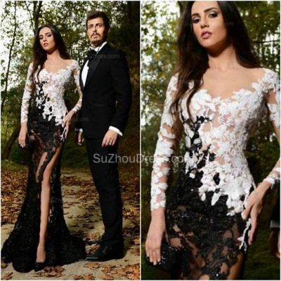 Sexy Side Slit Black and White Formal Dresses Long Sleeve Lace Sheer Custom Made Popular Evening Dress_3