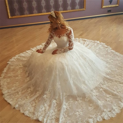 Appliques Vintage Lace Ball Gown Long Sleeves Bride Dress Gorgeous Wedding Gowns  BA7299_3