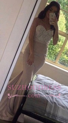 Lace Pink Beading Sweetheart-Neck Pearls Mermaid Prom Dresses_5