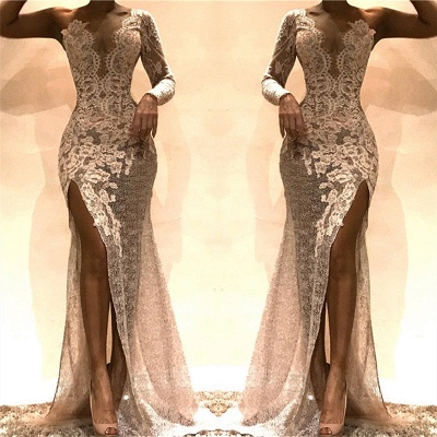 Sexy Sheath Lace Evening Dresses  | One Sleeves Side Slit Party Dresses_3
