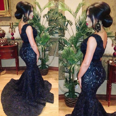 Black Sexy Mermaid Lace Formal Occasion Dress V-Neck Open Back Sweep Train Evening Gowns_2