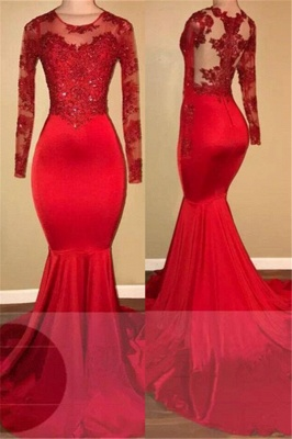Long Sleeve Mermaid Lace Prom Dresses    Red Sheer Tulle  Evening Gown FB0283_1