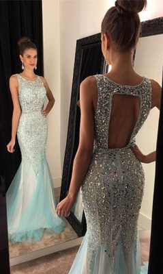 Sparkly Halter Mermaid Evening Dress Luxurious Sexy Long Prom Dresses_1