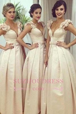 Ruched Bow Floor-length Ball-Gown V-neck Birdesmaid Dress BA6736_3
