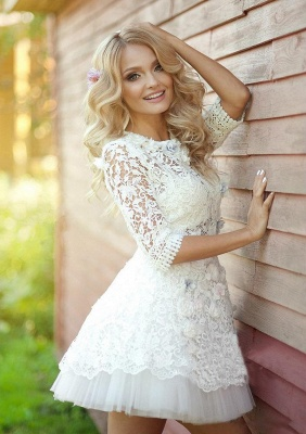 Half Sleeve Lace Bridal Shower Dress   Tulle Miniskirt Party Dress with Flowers BA3555_3