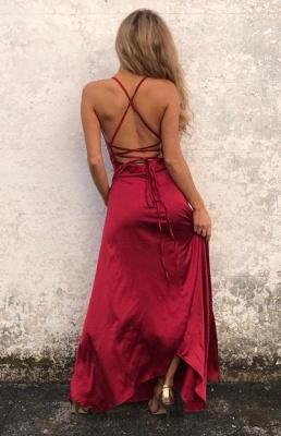 Sexy Simple Red Backless Prom Dresses  Side Slit Halter Party Gowns SK0038_3
