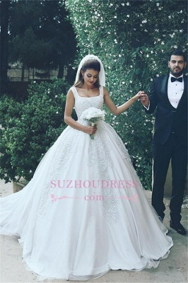 Elegant Ball Tulle Sleeveless New Square Appliques Wedding Dresses  BA4133_4