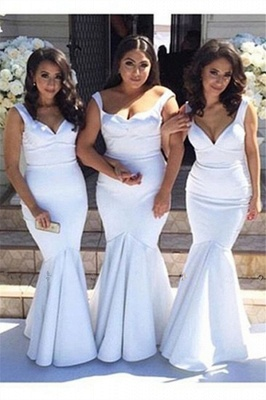 Elegant  White Simple Floor-Length Mermaid Straps Bridesmaid Dress BA4122_2