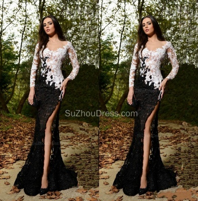 Sexy Side Slit Black and White Formal Dresses Long Sleeve Lace Sheer Custom Made Popular Evening Dress_2