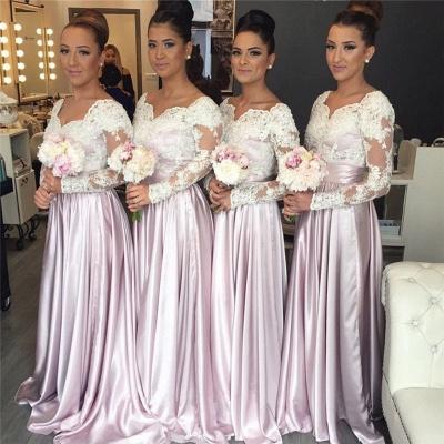 V-neck White-Lace Pink Elegant Popular Long-Sleeve Bridesmaid Dress_3