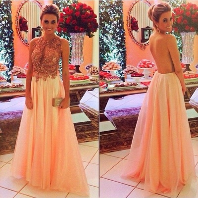 Latest A-Line Crystal Lace Prom Dress Open Back Chiffon Floor Length Evening Dress_2