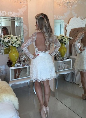 White A-line Lace Mini Cocktail Dress Long Sleeve Beadings Open Back Short Homecoming Dress_3