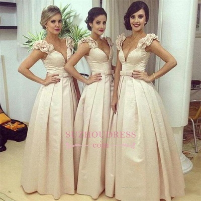 Ruched Bow Floor-length Ball-Gown V-neck Birdesmaid Dress BA6736_1