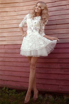 Half Sleeve Lace Bridal Shower Dress   Tulle Miniskirt Party Dress with Flowers BA3555_1