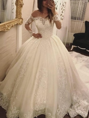 Elegant Off-the-Shoulder Long Sleeves Wedding Dresses | Tulle Appliques Bridal Gowns  with Beadings_4