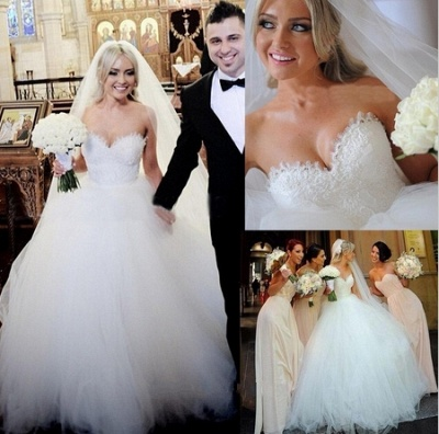 Gorgeous Sweetheart Lace Ball Gown Princess Dress Tulle Custom Made Bridal Gown BA6585_2