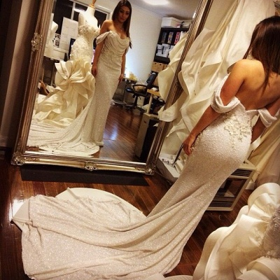Off Shoulder Mermaid Prom Dress Sequins White Long Evening Dress with Flowers BO7066_3