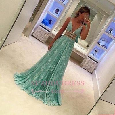 Mint-Green A-line Elegant Sheer Lace Deep-V-Neck Prom Dresses_1