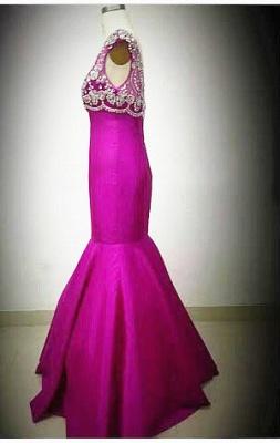 Sexy Mermaid Crystal Rose Long Evening Dress Latest Open Back Zipper Custom Made Bridesmaid Dresses_3