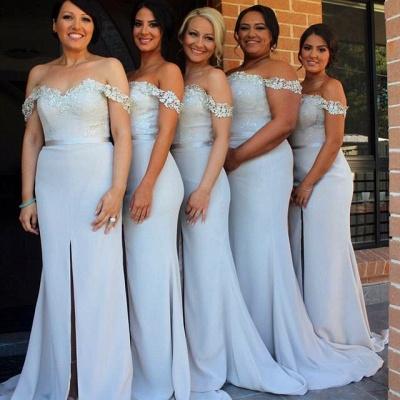 Lace Appliques Off-the-shoulder  Bridesmaid Dresses  Wedding Party Dress with Front Slit BA3346_1