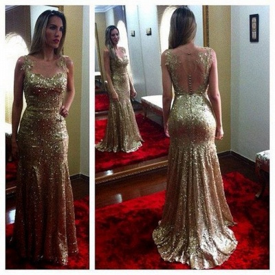 Open Back Sexy Gold Sequined  Evening Gowns Sleeveless Applique Mermaid Party Dresses CJ0169_2
