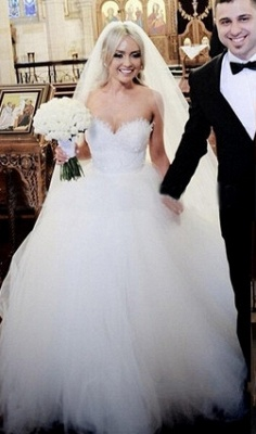 Gorgeous Sweetheart Lace Ball Gown Princess Dress Tulle Custom Made Bridal Gown BA6585_1