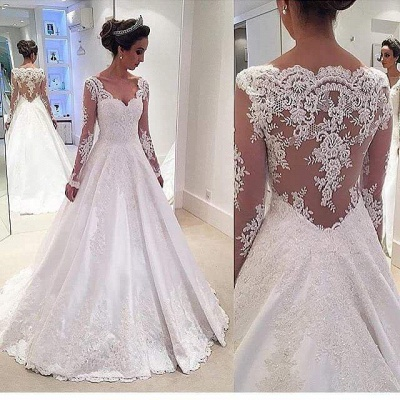 Chic Long-Sleeves Lace Appliques Wedding Dresses | Bridal Gowns Online_3