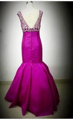 Sexy Mermaid Crystal Rose Long Evening Dress Latest Open Back Zipper Custom Made Bridesmaid Dresses_4
