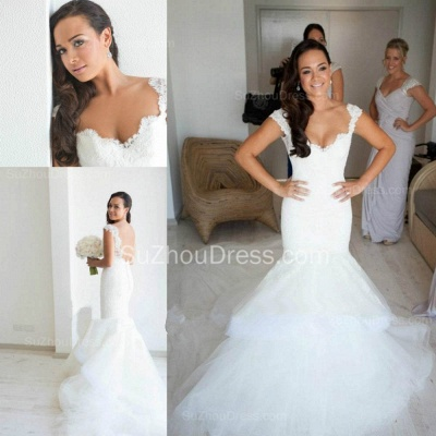 Elegant Lace V Neck Wedding Dresses with Fishtail Open Back Tulle Court Train Bridal Gowns_3